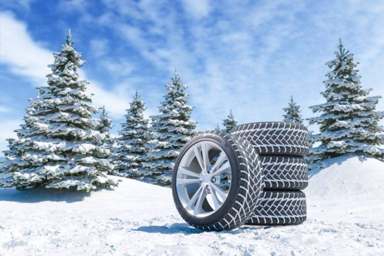 Tyres stacked up on snow
